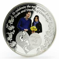Ghana 1 Cedi The Royal Baby Proof Color Silverplated Coin 2013