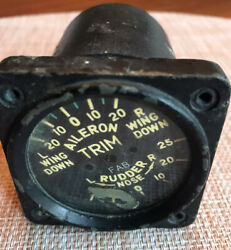 Vintage Rudder And Aileron Trim Indicator For Parts Warbird