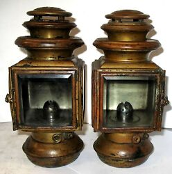 Pair Ford Script 1911-12 Jno Brown Model 100 Brass Oil Sidelamps Excellent
