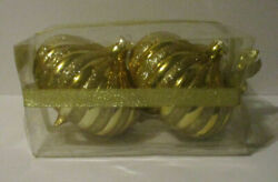 2 Large 6 Shatterproof Gold Onion Christmas Ornaments