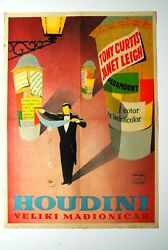 Houdini Tony Curtis Janet Leigh 1953 Psychotronic Magic Rare Exyu Movie Poster