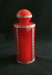 Antique Guilloche 18ct White Gold Plated Perfume Bottle. C 1930s