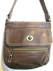 FOSSIL Chocolate Brown Leather Messenger Shoulder Bag Zip Round Wallet Section $24.50