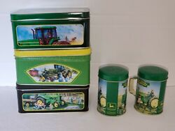 John Deere 3 Tins And Salt And Pepper Shakers Five Pieces