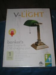 Vintage Bankers Desk Lamp W/ Green Glass Shade Student Antique Table Light W/usb