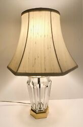 Rare Vintage French Baccarat Clear Beveled Crystal Table Desk Lamp W/silk Shade