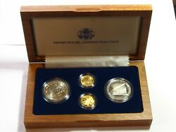 1987 Us Constitution 4 Coin Set - 2 Silver Dollars, 2 Gold 5 Proofs - 9328