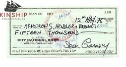 Sean Connery Signed Check Jsa Loa Auto Grade 9 Rare James Bond Actor Bold Z508