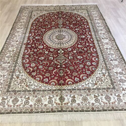 Yilong 6'x9' Red Handknotted Silk Carpet Living Room Floral Area Rug L083c
