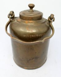 Old Antique Brass Milk Oil Sugar Containing Pot Hand Forged Box Jug Pot With Lid