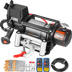 17000lbs Electric Winch 12v Steel Cable Off-road Atv Utv Truck Towing Trailer