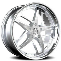 4 22 Lexani Wheels Solar Silver Machined With Ss Lip Rims With Tires