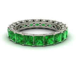 4.40 Carat Real Diamond Green Emerald Band 14k Solid White Gold Size 5.5 6 7 8
