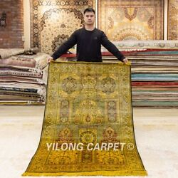Yilong 4and039x6and039 Golden Handmade Silk Carpet Antique Washed Vintage Area Rug Y381a