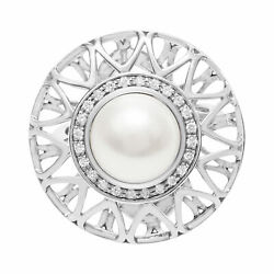 South Sea 11mm Pearl Ring In 18k White Gold With Diamond Accents. Size 7.5