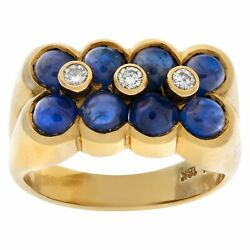 Dainty Cabochon Sapphire Flowers With Diamond Center Ring In 18k Yellow Gold