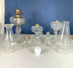 Lot Antique Oil Lamps And Chimneys Different Sizes Glass Imperfections Bubbles