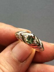 Kat Florence 18k Gold Ring With Russian Demantoid And D Flawless Diamonds