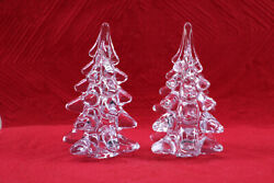 Pair Art Glass / Clear Crystal Christmas Tree Figurines By Toscano 6 High