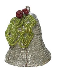 Vintage Christmas Ornament Glass Seed Beaded 4 Bell With Holly And Berries