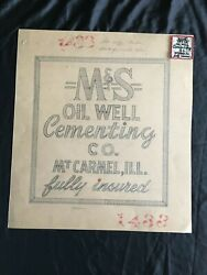 1950and039s Mands Oil Well Cementing Co. Mt. Carmel Il Artwork And Embroidered Patch
