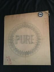 1940's Pure Oil Company Original Artwork And Embroidered Patch 1 Of 1