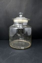 Vintage Old Clear Glass Cut Cookies Jar Biscuit Container With Lid Collectible