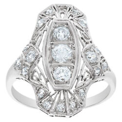 Art Deco Platinum Diamond Ring With Filagree Design Set With Approximately 1...