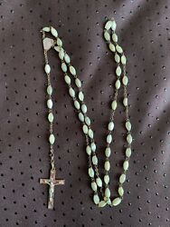 Antique French Art Deco Rosary - Mother Of Pearl Beads