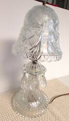 Vintage Pressed Glass Boudour Prism Lamp 12-13 Tall Clip On Glass Shade