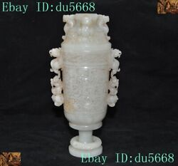 China Dynasty Hetian Jade Carved Ancient Dragon Bird Beast Statue Wineglass Cup