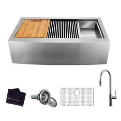 G.bay All-in-one Farmhouse/apron-front St. Steel 30 In. 1-bowl Workstation Sink