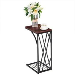 High Quality C-shaped Side Sofa End Table - Snack Tv Tray For Small Spaces Brown