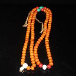 108pc Natural Nepal Old Clam Coral Turquoise Handmade Buddha Beads Necklace