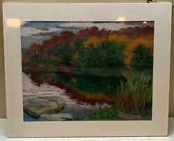 1955 Harriet Russell Maccurdy 'autumn, Georgian Bay, Canada' Pastel Painting
