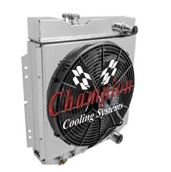 4 Row Sz Champion Radiator W/ 16 Fan And Shroud For 1964 65 1966 Mustang V8 Eng