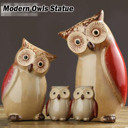 Modern Owls Statue Living Room Ornaments Hand Ceramic Animal Crafts Toy Home Kit