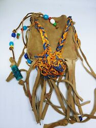 Beaded Medicine Pouch Bag Native American Indian Fringe