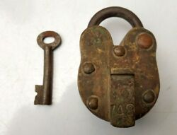 Antique Old Original Iron Hand Forged Padlock With Working Key Rare