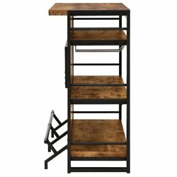 Bowery Hill Industrial Home Bar Unit With Stemware Rack in Antique Nutmeg