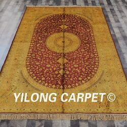 Yilong 6'x9' Handknotted Silk Rug Antique Medallion Gold Red Washed Carpet G77c