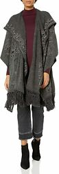 Biya Johnny Was Womenand039s Hooded Poncho With Tonal Embroidery And Fringe Detail