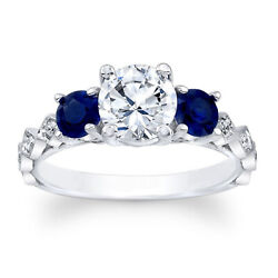 1.71 Carat Real Diamond Blue Sapphire Rings Solid 950 Platinum Band Size 5 6 7 8