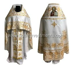 White Priest's Vestment Embroidered Icon Of Christ Russian Any Color To Order