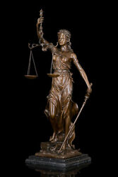 29.9art Deco Sculpture Goddess Of Justice Angel Woman With Snake Bronze Statue