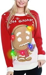 Light Up Womenand039s Christmas Sweater 3d Gingerbread Man Cat Ugly Sweater Knit New