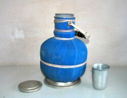 1900's Vintage Blue Metal Picnic Camping Drinking Water Cooler Kettle Tape