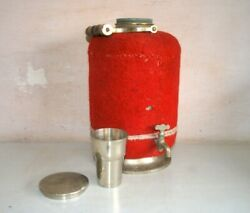 1900's Vintage Red Metal Picnic Camping Drinking Water Cooler With Tape