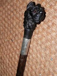 Antique Walking Stick W/ Westie Hand-carved Top And H/m Silver Collar 1920and039s