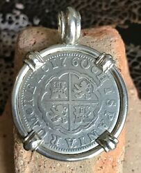 Pirate Coin Treasure Piece Of Eight Spanish Authentic 2 Reales Pendant Silver